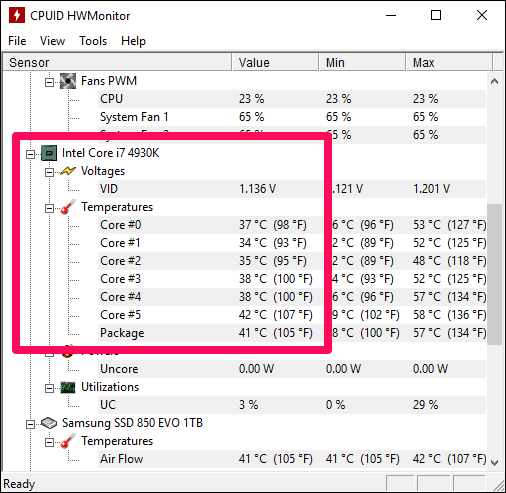 HWMonitor Temperature Reading